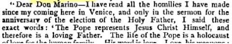 "Dopis od kardinála Giuseppe Sarto (který se stal papežem Piem X. v roce 1903) citovaný v: <a href=""http://books.google.ca/books?id=NIkQAAAAIAAJ&amp;pg=RA2-PA10&amp;redir_esc=y#v=onepage&amp;q&amp;f=false"" target=""blank""> <em>Publications of the Catholic Truth Society</em> Volume 29 (Catholic Truth Society: 1896): 11. </a>"