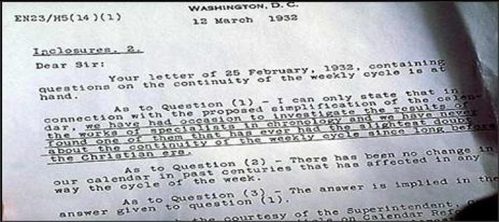 Dopis od US Naval Observatory (Americké námořní observatoře) ohledně nepřerušeného týdenního cyklu.(Washington DC: 12. března, 1932). Zdroj obrázku: godssabbathtruth.com.
