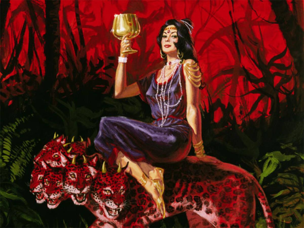 Žena jedoucí na šelmě ze Zjevení 17